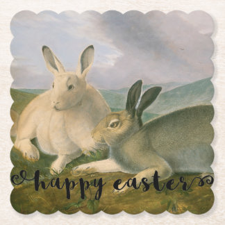 Happy Easter Bunny Hare Couple Vintage Watercolor Paper Coaster