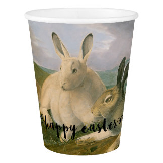 Happy Easter Bunny Hare Couple Vintage Watercolor Paper Cup