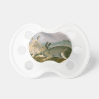 Happy Easter Bunny Hare Couple Watercolor Vintage Pacifier