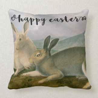 Happy Easter Bunny Hare Couple Watercolor Vintage Throw Pillow
