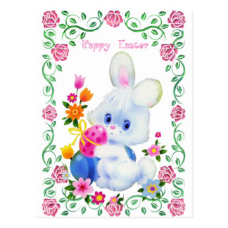 Happy Easter Bunny Holiday postcard