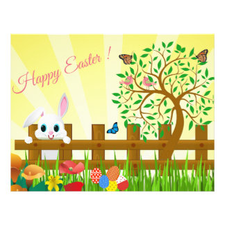 Happy Easter bunny illustration Flyer