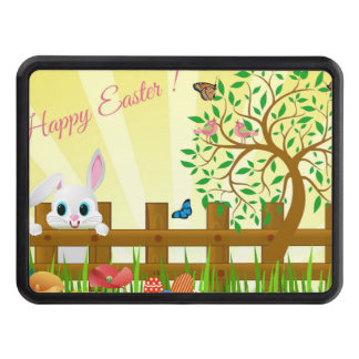 Happy Easter bunny illustration Trailer Hitch Cover