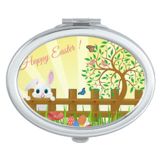 Happy Easter bunny illustration Vanity Mirrors