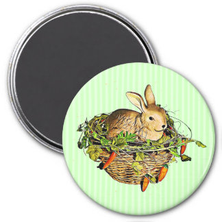 Happy Easter Bunny in Basket Magnet