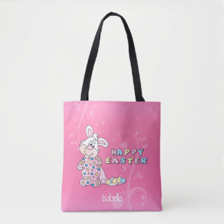 Happy Easter Bunny in Pretty Pink Tote Bag