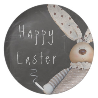 HAPPY EASTER BUNNY MESSAGE, CHALK ON BLACKBOARD PLATE