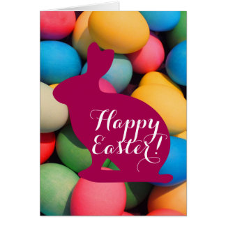 Happy Easter Bunny Multicolored Eggs Card