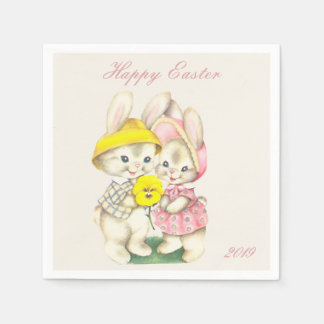 Happy Easter Bunny Pink Yellow Napkin