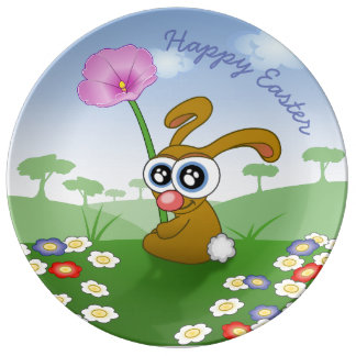 HAPPY EASTER BUNNY PORCELAIN PLATE, FLOWER BUNNY PLATE