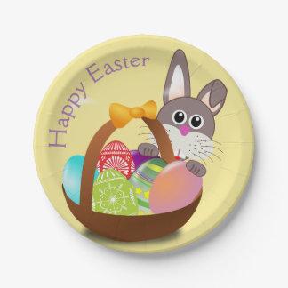 Happy Easter Bunny Rabbit Basket Egg Dessert Plate