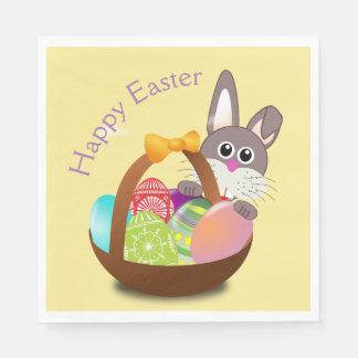 Happy Easter Bunny Rabbit Basket Egg Dinner Napkin Paper Napkins