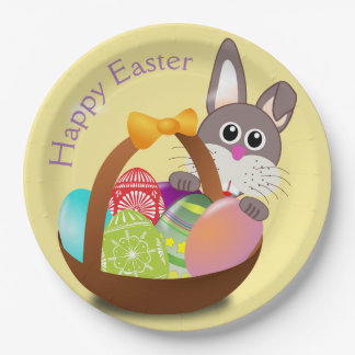 Happy Easter Bunny Rabbit Basket Eggs Paper Plate