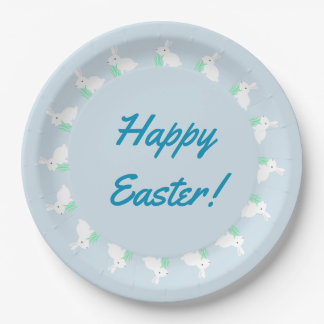 Happy Easter Bunny Rabbit Paper Plates