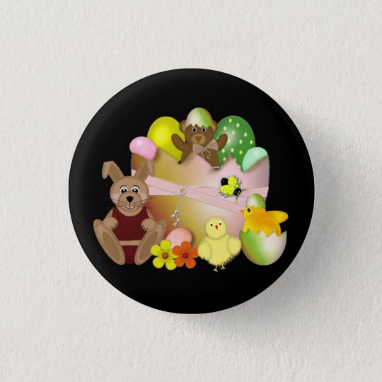 Happy Easter Bunny with chickens 1 Inch Round Button