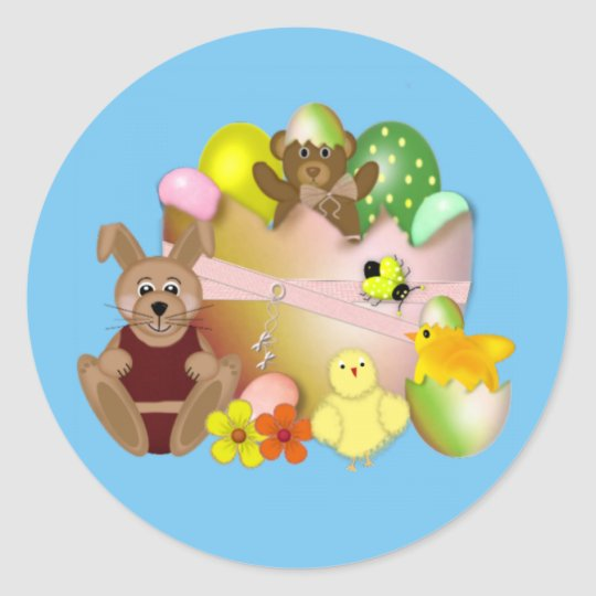 Happy Easter bunny with chickens Round Sticker