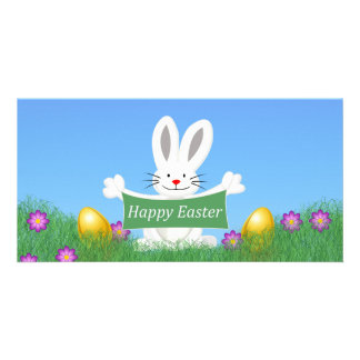 Happy Easter Bunny with colorful eggs Customized Photo Card