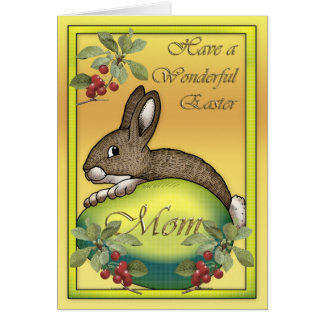 Happy Easter bunny with egg, for Mom Card
