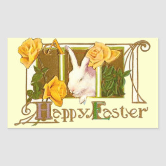 Happy Easter Bunny with Yellow Roses Sticker