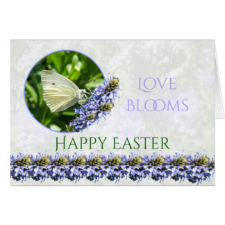 Happy Easter Butterfly Flowers Spring Note Card