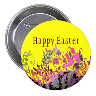 Happy Easter Button - Enchanting Flowers