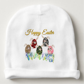 Happy Easter Camouflage Chocolate Bunny Egg Hunt Baby Beanie