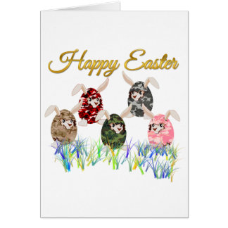 Happy Easter Camouflage Chocolate Bunny Egg Hunt Card