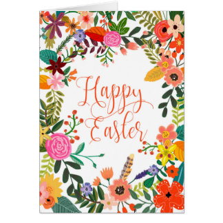 Happy Easter card floral personalized