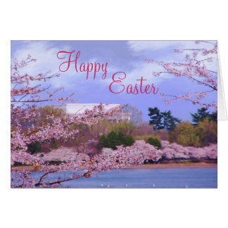 Happy Easter Cherry Blossoms Greeting Card