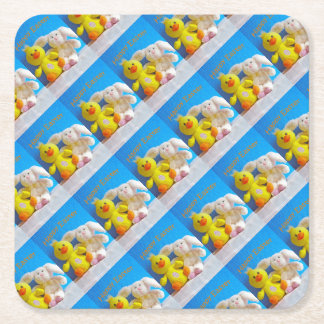 Happy Easter Chick + Bunny Square Paper Coaster