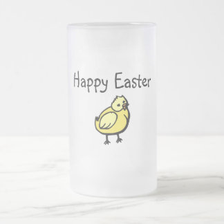 Happy Easter Chick Frosted Glass Beer Mug