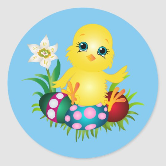 Happy Easter Chicken Round Sticker