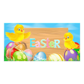 Happy Easter Chickens with colored eggs Photo Cards