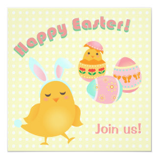 Happy Easter Chicks Easter Picnic Party Invitation