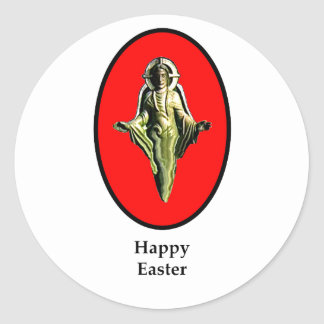 Happy Easter Christ Image Canterbury Red The MUSE Round Sticker