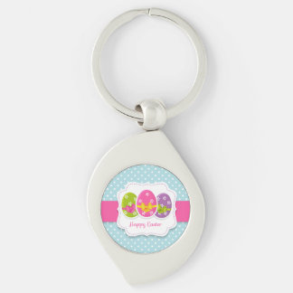 Happy Easter Colorful Eggs Greeting Silver-Colored Swirl Keychain