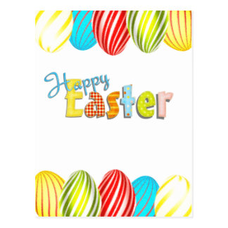 Happy Easter Colorful Eggs Postcard