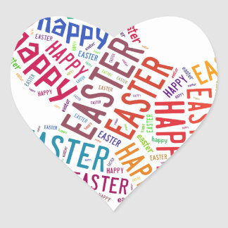 Happy Easter Colorful Greeting Text Heart Sticker