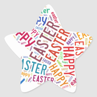 Happy Easter Colorful Greeting Text Star Sticker