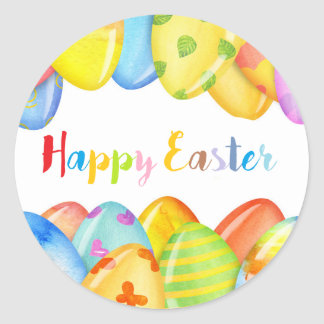 happy Easter colorful stickers