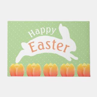 Happy Easter Colorful Tulips & Rabbit Doormat