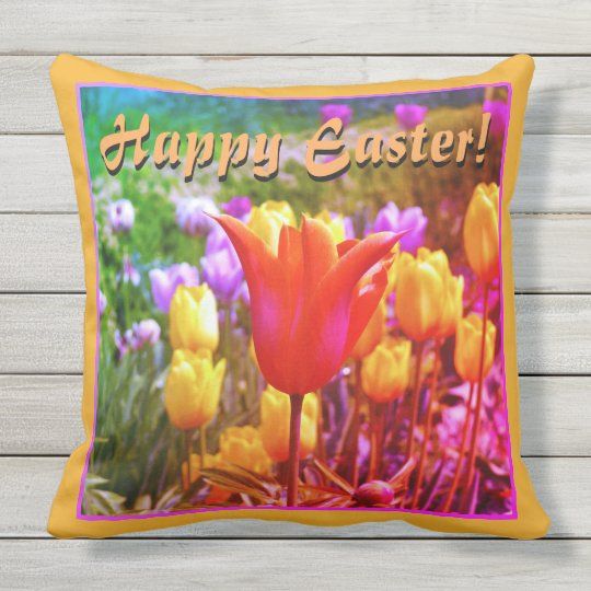 Happy Easter! Colourful Tulips Outdoor Pillow