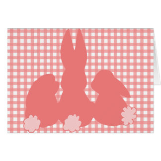 Happy Easter - Coral Easter Bunnies Greeting Card