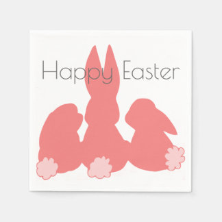 Happy Easter - Coral Easter Bunnies Paper Napkins