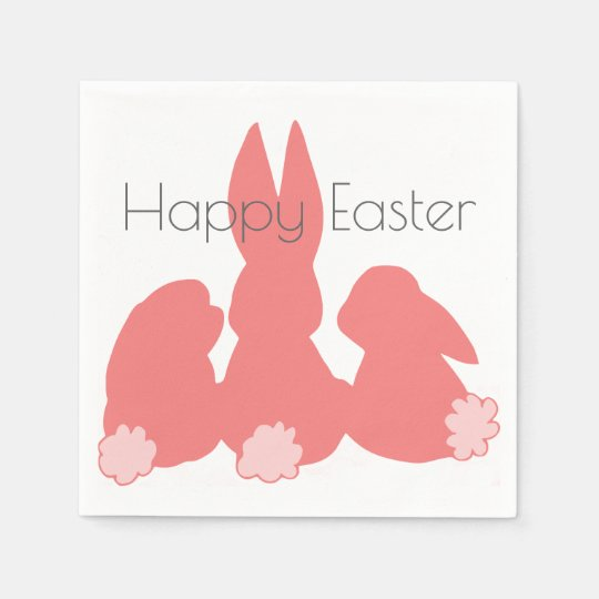 Happy Easter | Coral Pink Bunnies Paper Napkins