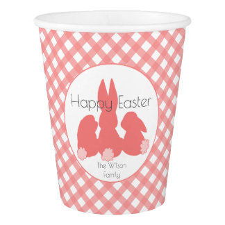 Happy Easter | Coral Plaid Custom Paper Cups