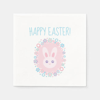 Happy Easter Cute Baby Bunny Rabbit Spring Floral Paper Napkins