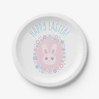 Happy Easter Cute Baby Bunny Rabbit Spring Floral Paper Plate