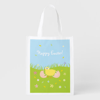 Happy Easter Cute Baby Chick Reusable Grocery Bag