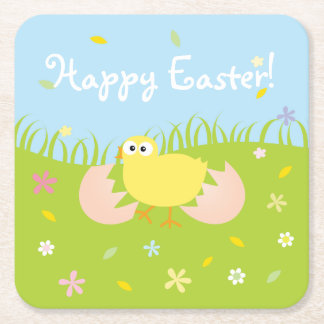 Happy Easter Cute Baby Chick Square Paper Coaster